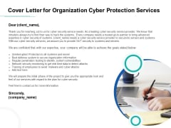 Develop Corporate Cyber Security Risk Mitigation Plan Cover Letter For Organization Cyber Protection Services Inspiration PDF