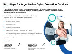 Develop Corporate Cyber Security Risk Mitigation Plan Next Steps For Organization Cyber Protection Services Topics PDF Themes PDF