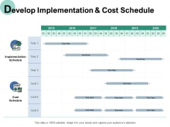 Develop Implementation And Cost Schedule Ppt PowerPoint Presentation Visuals