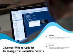 Developer Writing Code For Technology Transformation Process Ppt PowerPoint Presentation Layouts Tips PDF