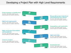 Developing A Project Plan With High Level Requirements Ppt PowerPoint Presentation Gallery Smartart PDF