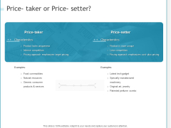 Developing A Right Pricing Strategy For Business Price Taker Or Price Setter Ideas PDF