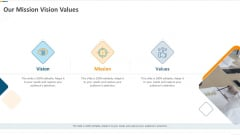Developing Action Plan For Gaining Market Advantage Our Mission Vision Values Ppt Styles Sample PDF