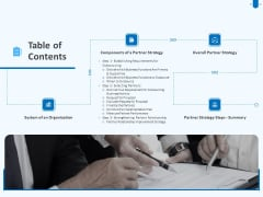 Developing And Implementing Corporate Partner Action Plan Table Of Contents Brochure PDF