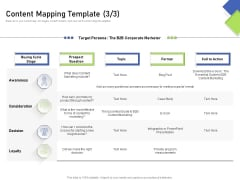 Developing Content Mapping Strategy Content Mapping Template Awareness Ppt Inspiration Deck PDF