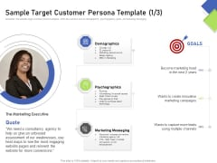 Developing Content Mapping Strategy Sample Target Customer Persona Template Ppt Summary Graphics Template PDF