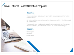 Developing Content Strategy Cover Letter Of Content Creation Proposal Ppt Professional Model PDF