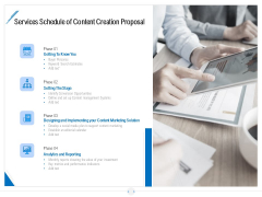 Developing Content Strategy Services Schedule Of Content Creation Proposal Ppt Gallery Example PDF