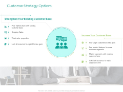 Developing Customer Service Strategy Customer Strategy Options Ppt Pictures Gallery PDF