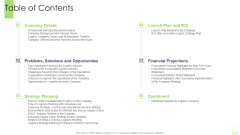 Developing Functional Logistic Plan Business Table Of Contents Ppt Infographics Information PDF