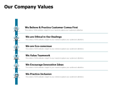 Developing Implementing Strategic HRM Plans Our Company Values Ppt Portfolio Mockup PDF