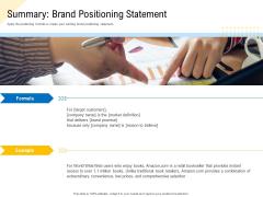 Developing Market Positioning Strategy Summary Brand Positioning Statement Slides PDF