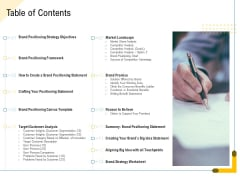 Developing Market Positioning Strategy Table Of Contents Themes PDF