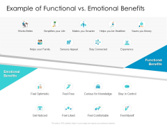 Developing New Sales And Marketing Strategic Approach Example Of Functional Vs Emotional Benefits Professional