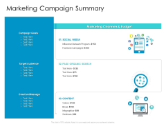 Developing New Sales And Marketing Strategic Approach Marketing Campaign Summary Ppt PowerPoint Presentation Model Designs PDF