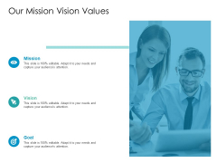 Developing New Sales And Marketing Strategic Approach Our Mission Vision Values Ppt PowerPoint Presentation Styles Example PDF