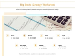 Developing New Trade Name Idea Big Brand Strategy Worksheet Ppt Pictures Smartart PDF
