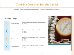 Developing New Trade Name Idea Climb The Consumer Benefits Ladder Ppt Styles Background Designs PDF