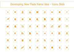 Developing New Trade Name Idea Icons Slide Ppt Layouts Deck PDF