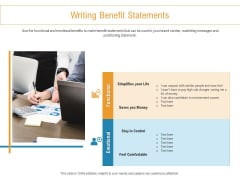 Developing New Trade Name Idea Writing Benefit Statements Ppt Professional Shapes PDF