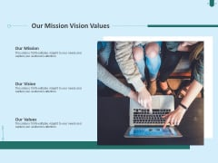 Developing Organization Partner Strategy Our Mission Vision Values Ppt Layouts Microsoft PDF