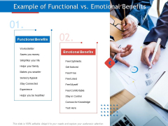 Developing Product Planning Strategies Example Of Functional Vs Emotional Benefits Ppt PowerPoint Presentation Pictures Deck PDF