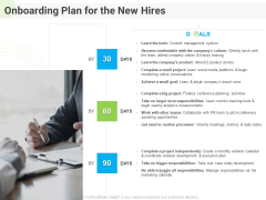 Developing Work Force Management Plan Model Onboarding Plan For The New Hires Information PDF
