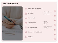 Development And Implementation Table Of Contents Ppt Summary PDF