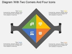 Diagram With Two Corners And Four Icons Powerpoint Template