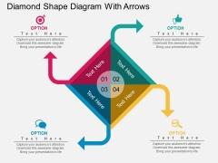 Diamond Shape Diagram With Arrows Powerpoint Template