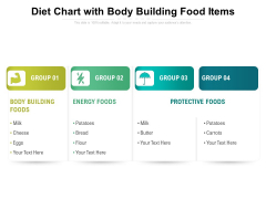 Diet Chart With Body Building Food Items Ppt PowerPoint Presentation Professional Graphics Pictures PDF