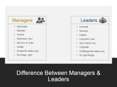 Difference Between Managers And Leaders Ppt PowerPoint Presentation Show