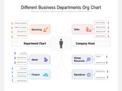 Different Business Departments Org Chart Ppt PowerPoint Presentation Icon Topics PDF