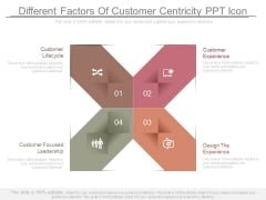 Different Factors Of Customer Centricity Ppt Icon