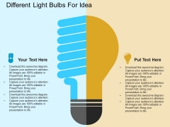 Different Light Bulbs For Idea Powerpoint Template