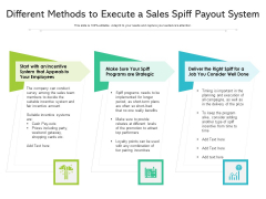 Different Methods To Execute A Sales Spiff Payout System Ppt PowerPoint Presentation Background Designs PDF