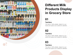 Different Milk Products Display In Grocery Store Ppt PowerPoint Presentation Portfolio Files PDF