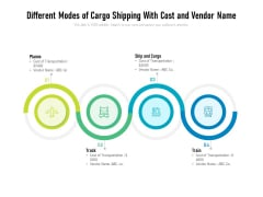Different Modes Of Cargo Shipping With Cost And Vendor Name Ppt PowerPoint Presentation Ideas Icons PDF