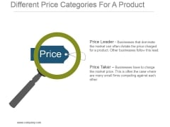 Different Price Categories For A Product Powerpoint Templates