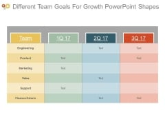 Different Team Goals For Growth Powerpoint Shapes