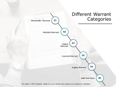 Different Warrant Categories Ppt PowerPoint Presentation Outline Microsoft
