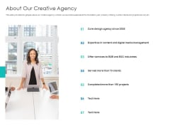 Digital Agency Pitch Presentation About Our Creative Agency Download PDF