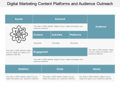 Digital Marketing Content Platforms And Audience Outreach Ppt PowerPoint Presentation Slides Inspiration