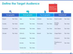 Digital Marketing Progress Report Define The Target Audience Demographic Ppt Icon Slides PDF