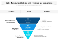 Digital Media Buying Strategies With Awareness And Consideration Ppt PowerPoint Presentation File Information PDF
