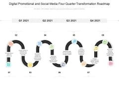 Digital Promotional And Social Media Four Quarter Transformation Roadmap Infographics