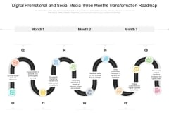 Digital Promotional And Social Media Three Months Transformation Roadmap Diagrams
