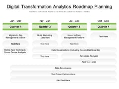 Digital Transformation Analytics Roadmap Planning Ppt PowerPoint Presentation Gallery Background PDF