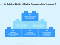 Digital Transformation Strategies Six Building Blocks Of Digital Transformation Ppt Professional Slide PDF