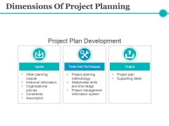 Dimensions Of Project Planning Ppt PowerPoint Presentation Gallery Professional